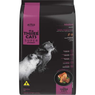 Ração Seca Three Cats Super Premium Salmão, Frango e Carne para Gatos Adultos 3kg