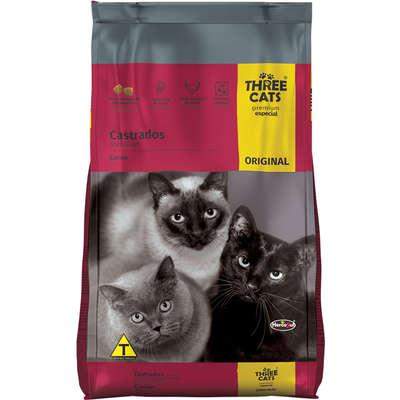 Ração Three Cats Original Sabor Carne para Gatos Adultos Castrados 3kg