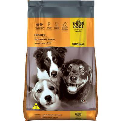 Ração Three Dogs Original Frango, Carne e Arroz para Cães Filhotes Raças Médias e Grandes 15kg