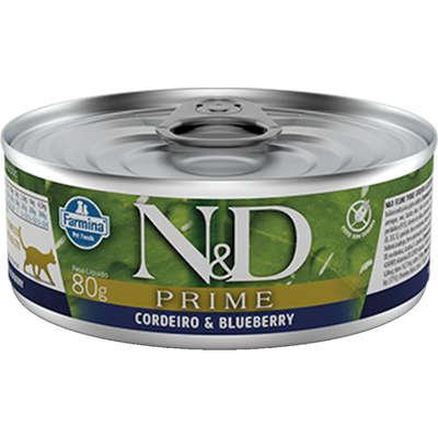 Ração Úmida Lata Farmina N&D Prime Cordeiro & Blueberry para Gatos Adultos 80G