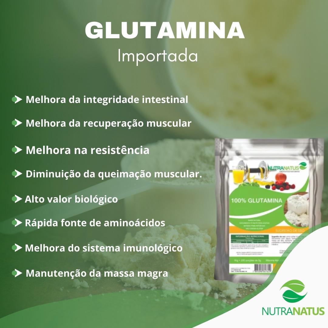 Aminoacido L-glutamina Pó Pura Importada 1kg + Brinde
