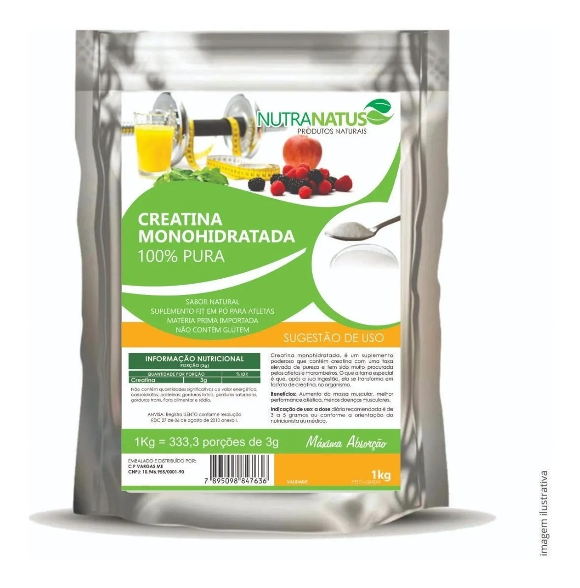 Combo Creatina Pura 1kg + Glutamina Pura 1kg + Brinde