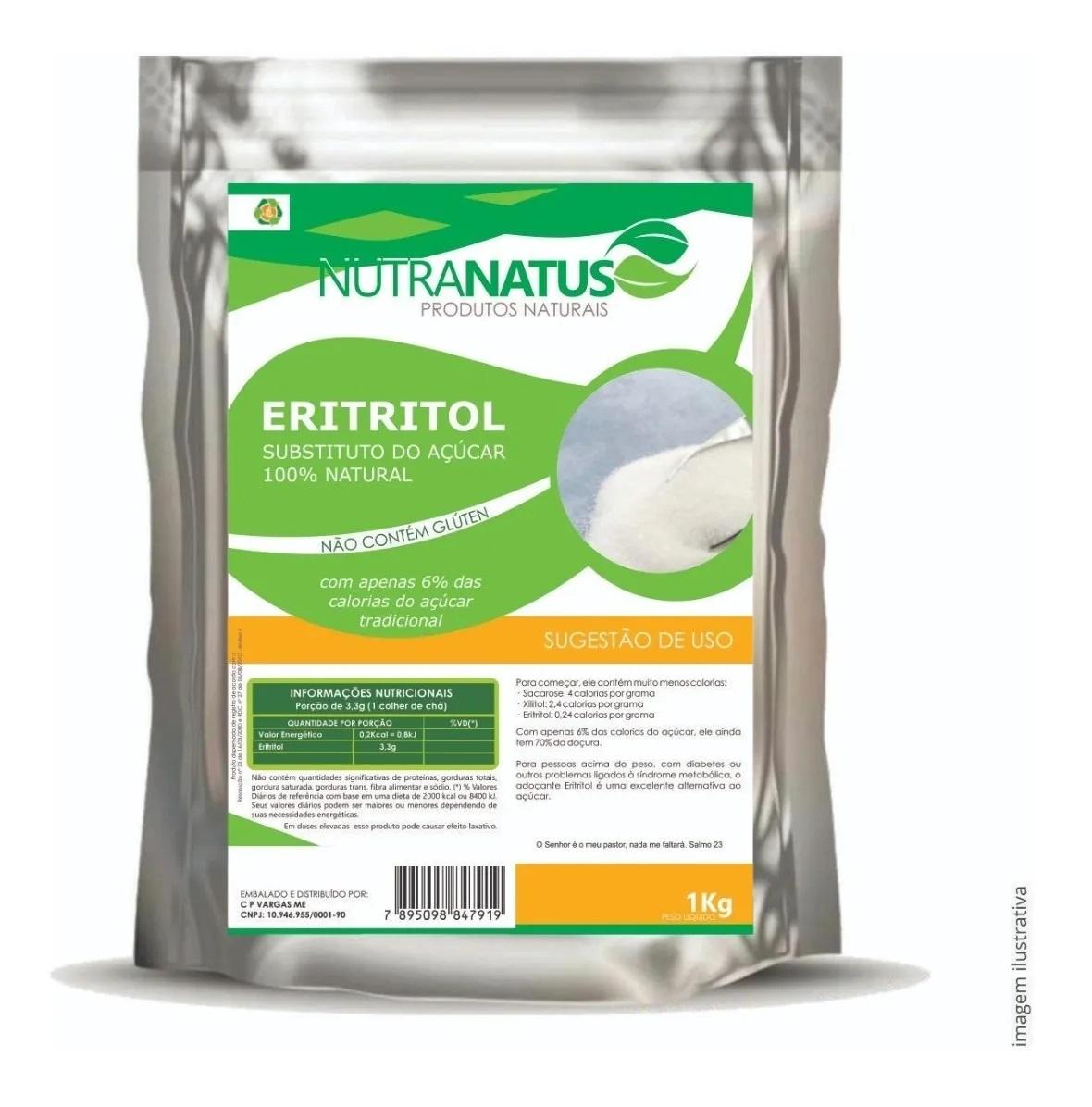 Eritritol Puro 1kg Importado Cristal Promoção Pronta Entrega