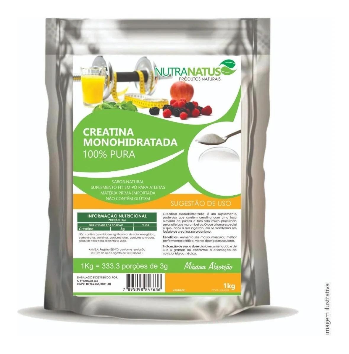 Glutamina Pura 1kg + Creatina Pura Importada 1kg + Brinde