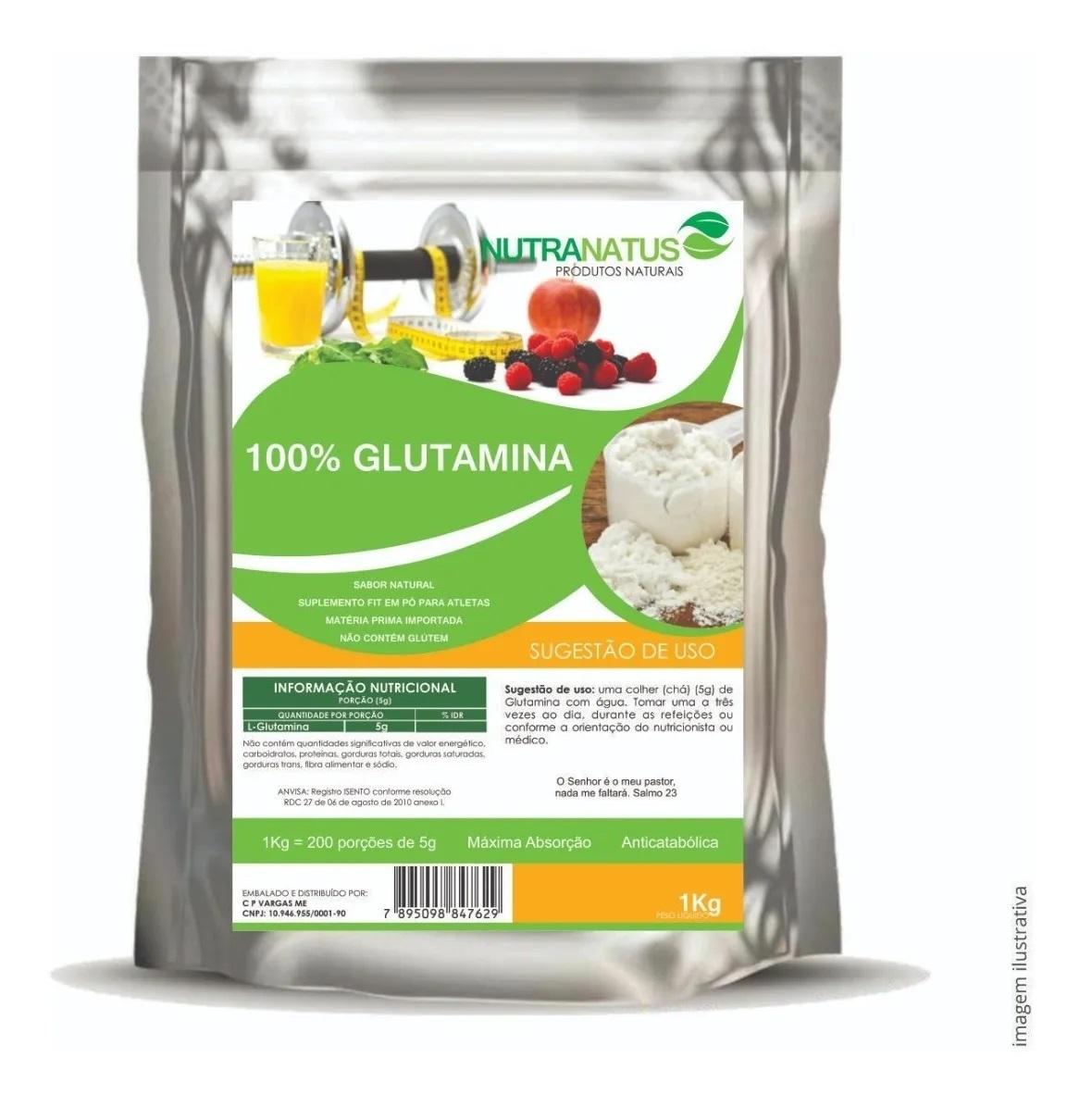 L Glutamina Pó Pura 600g L Glutamina Importada + Brinde