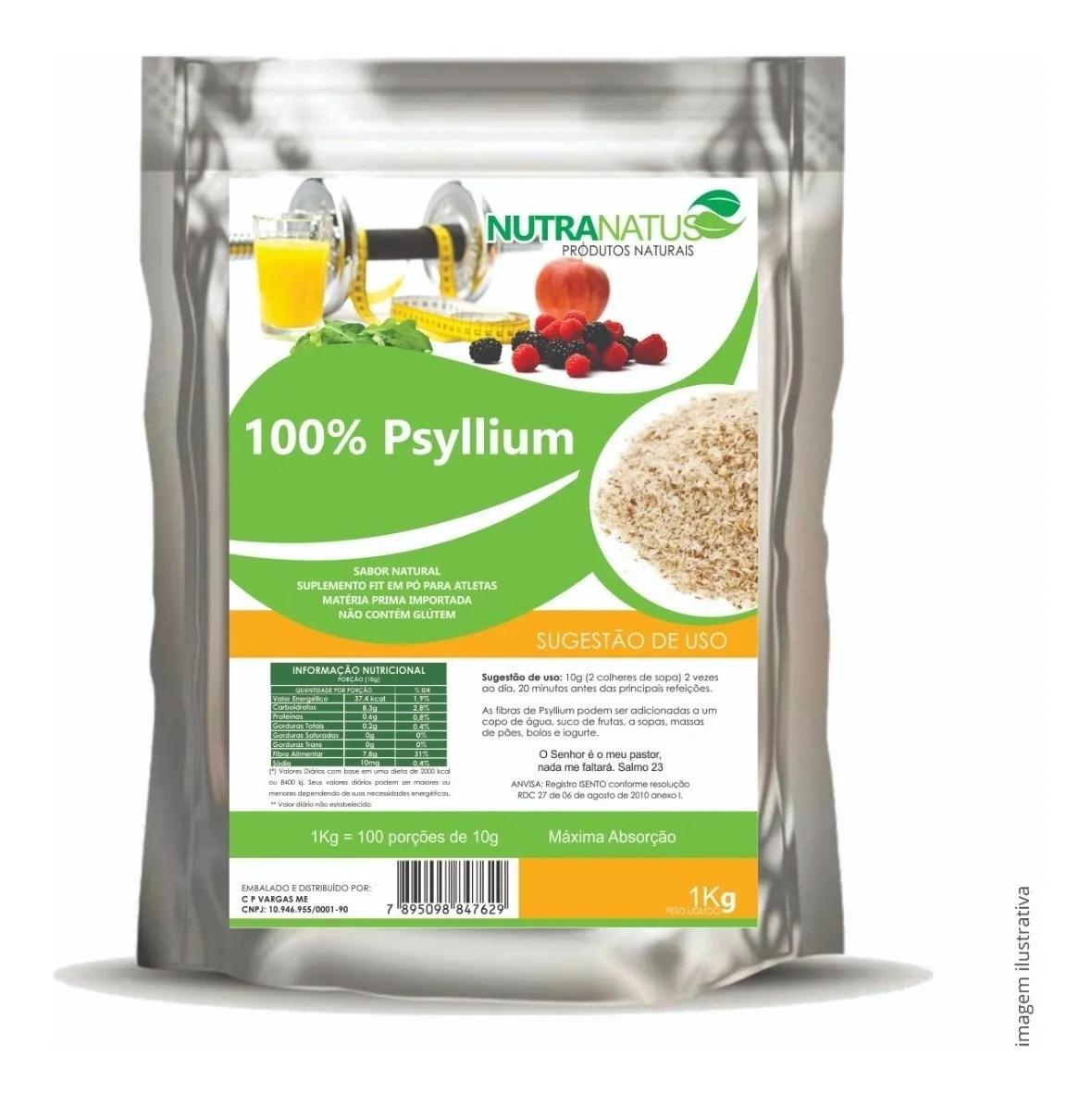 Psyllium Puro Husk Granulado Premium 2kg +brinde
