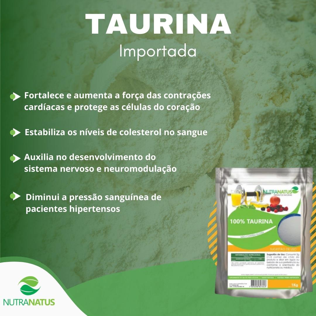Taurina em Pó 600g 100% Pura Importada com Laudo