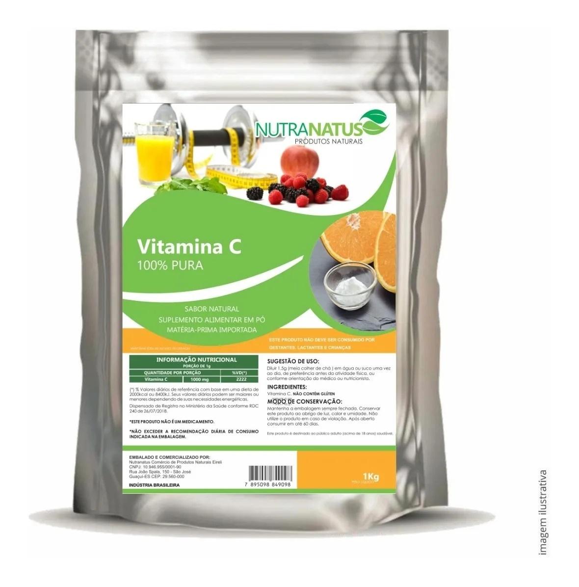 Vitamina C Em Pó Ácido Ascórbico 1kg 100% Pura