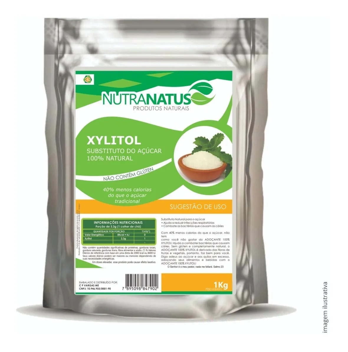 Xilitol Cristal Puro 1kg + Eritritol Cristal Puro 1kg