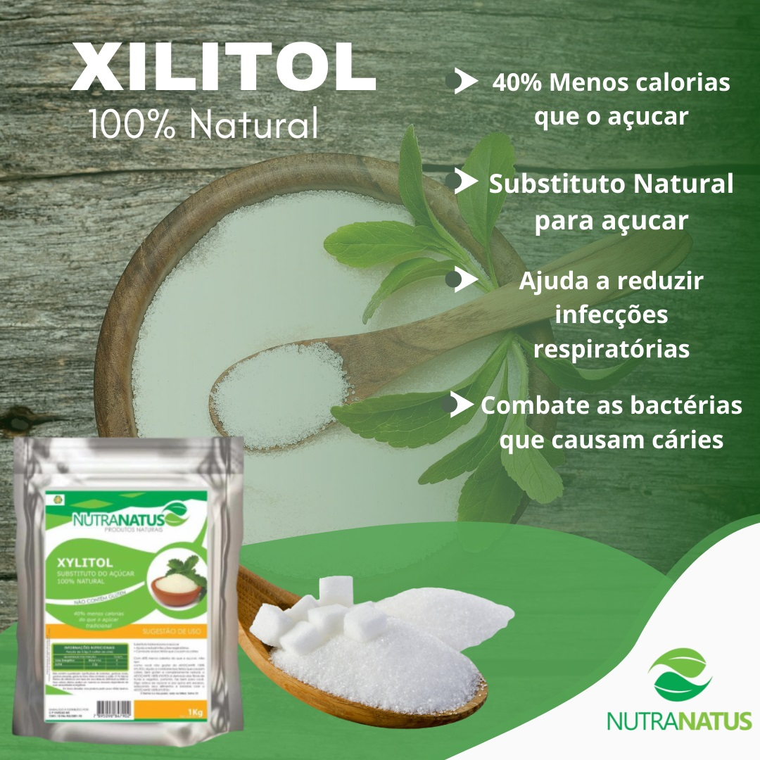 Xylitol Puro 2kg + Farinha De Amendoas Pura 2kg + Brinde