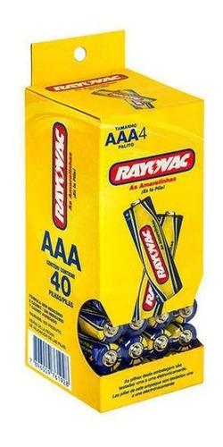 120 Pilhas Aaa Rayovac Comum Amarelinha Palito 3 Tubos C/40