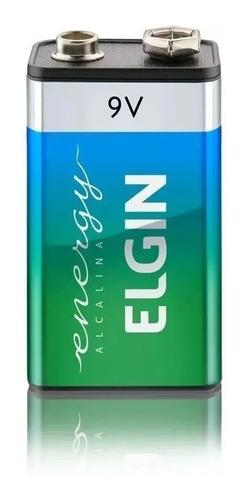 12 Bateria Alcalina 9v 6lr61 Elgin Pilha Original Revenda