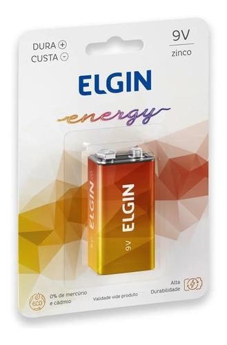 12 Bateria Pilha 9v Zinco Elgin Alta Durabilidade Kit