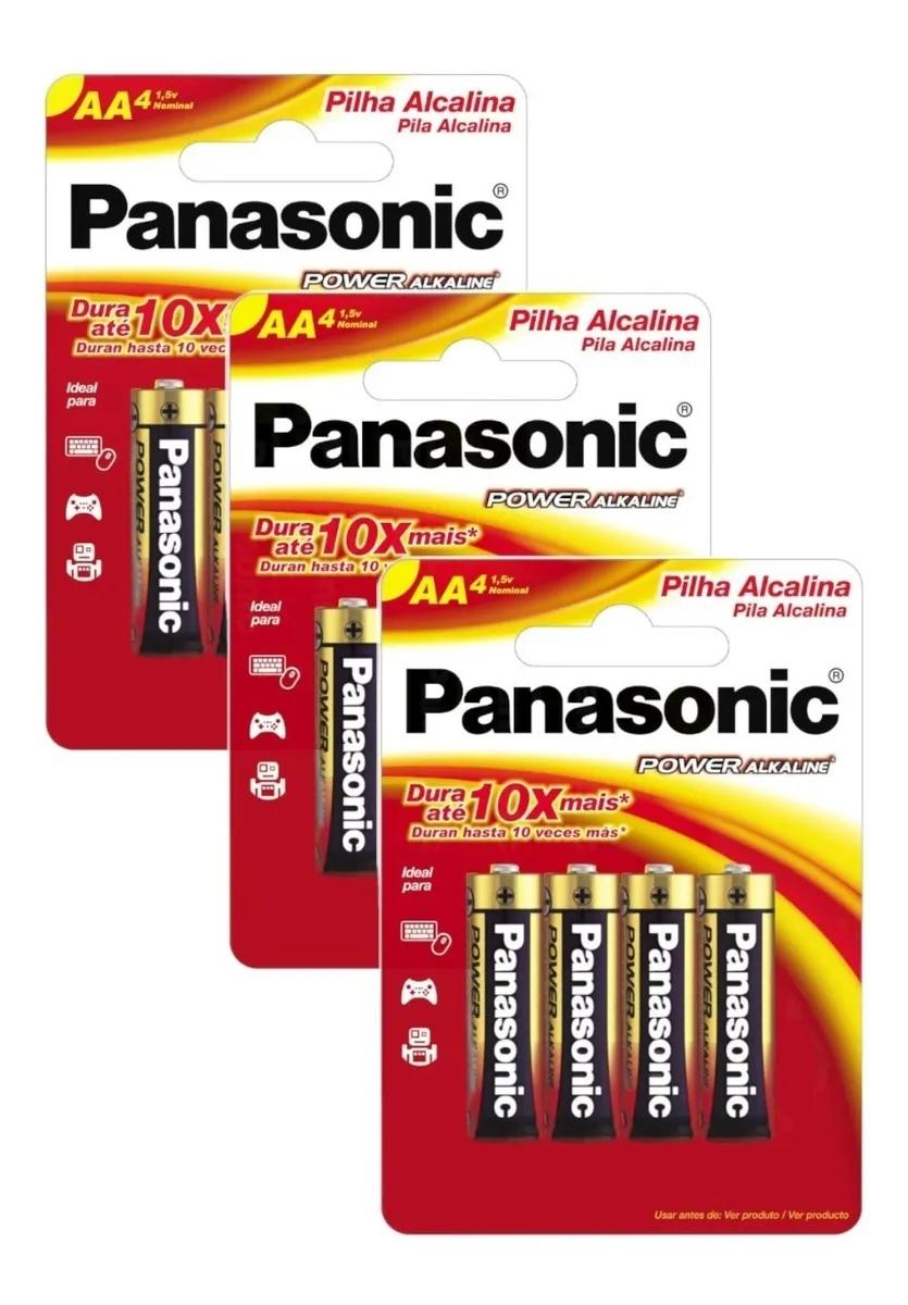 Kit 12 Pilhas Aa Alcalina Panasonic Original Promoção