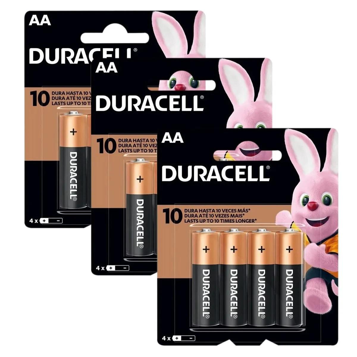 12 Pilhas AA Duracell Alcalina Pequena 3 Cartelas C/4 Unidades