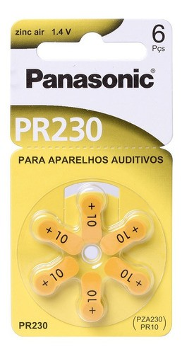 12 Pilhas Auditiva Pr-230 Zinc Air Panasonic 1.4v