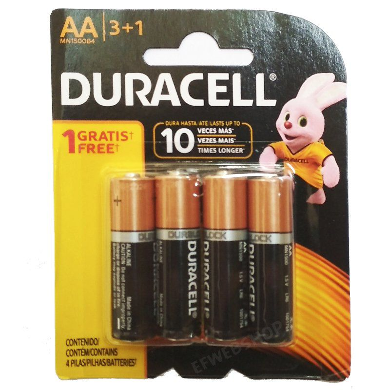 12 Pilhas Duracell Alcalina Pequena AA Cartela com 4 Atacado