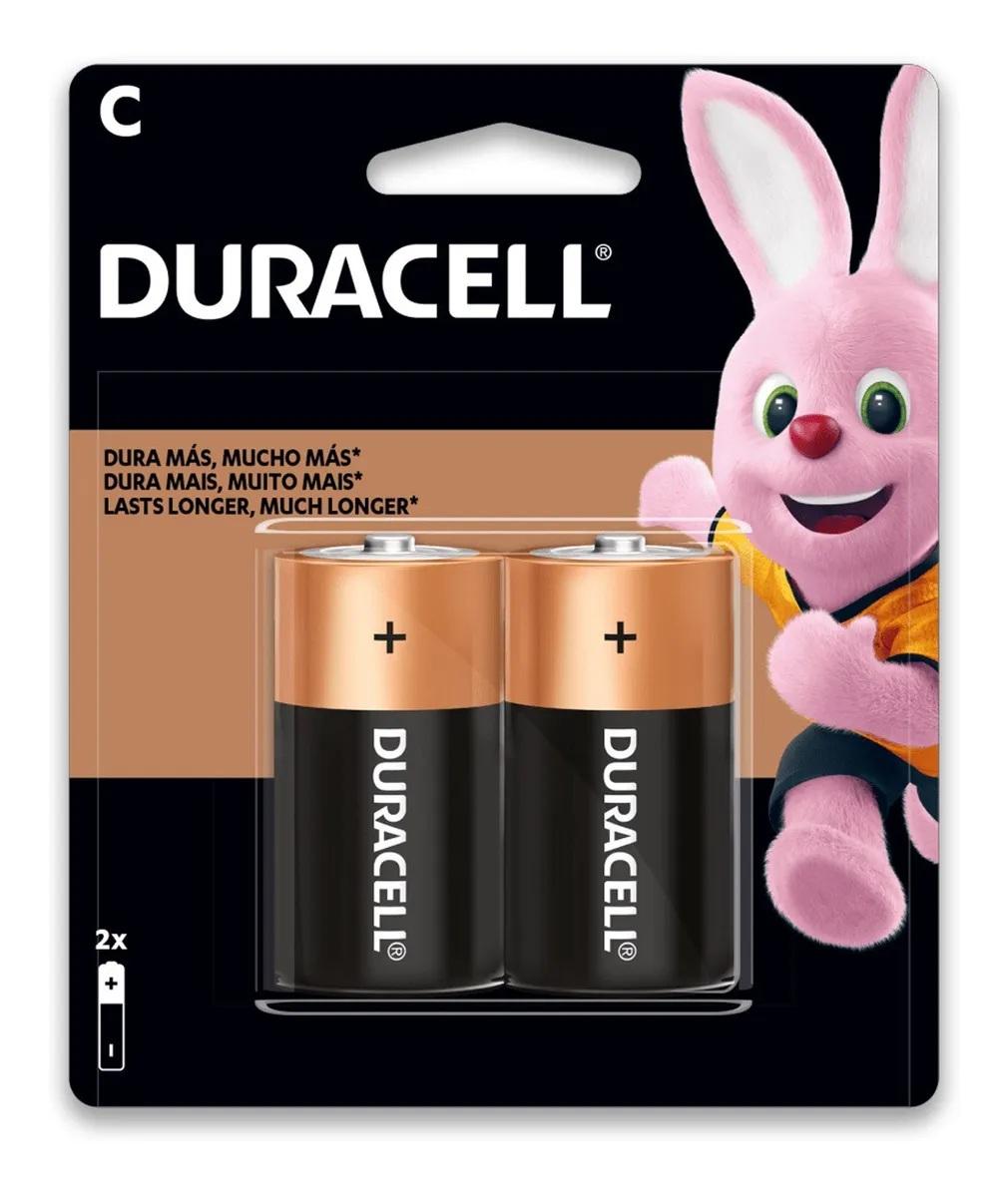12 Pilhas Média Duracell C Alcalina 6 Cartelas C/2 Unidades