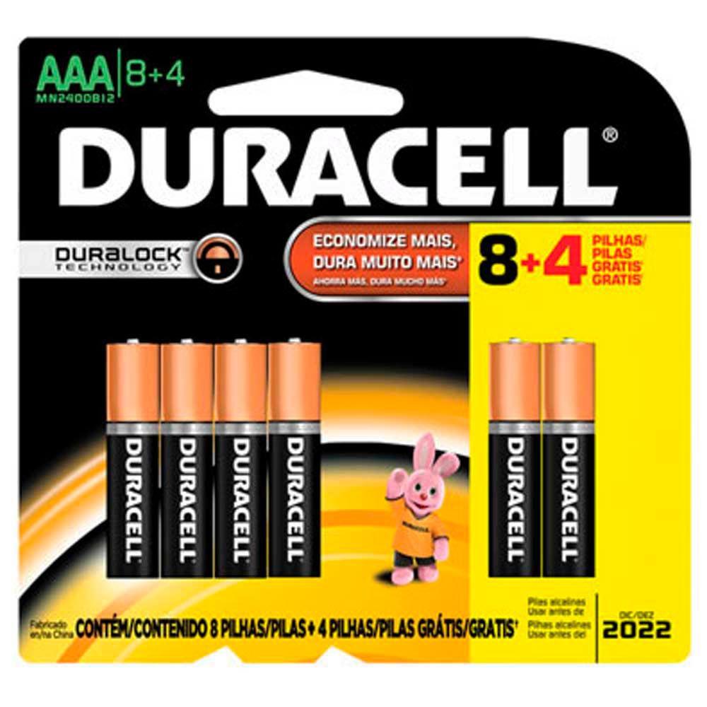 12 Pilhas Palito AAA Duracell Alcalina Cartela 8 + 4 Grátis
