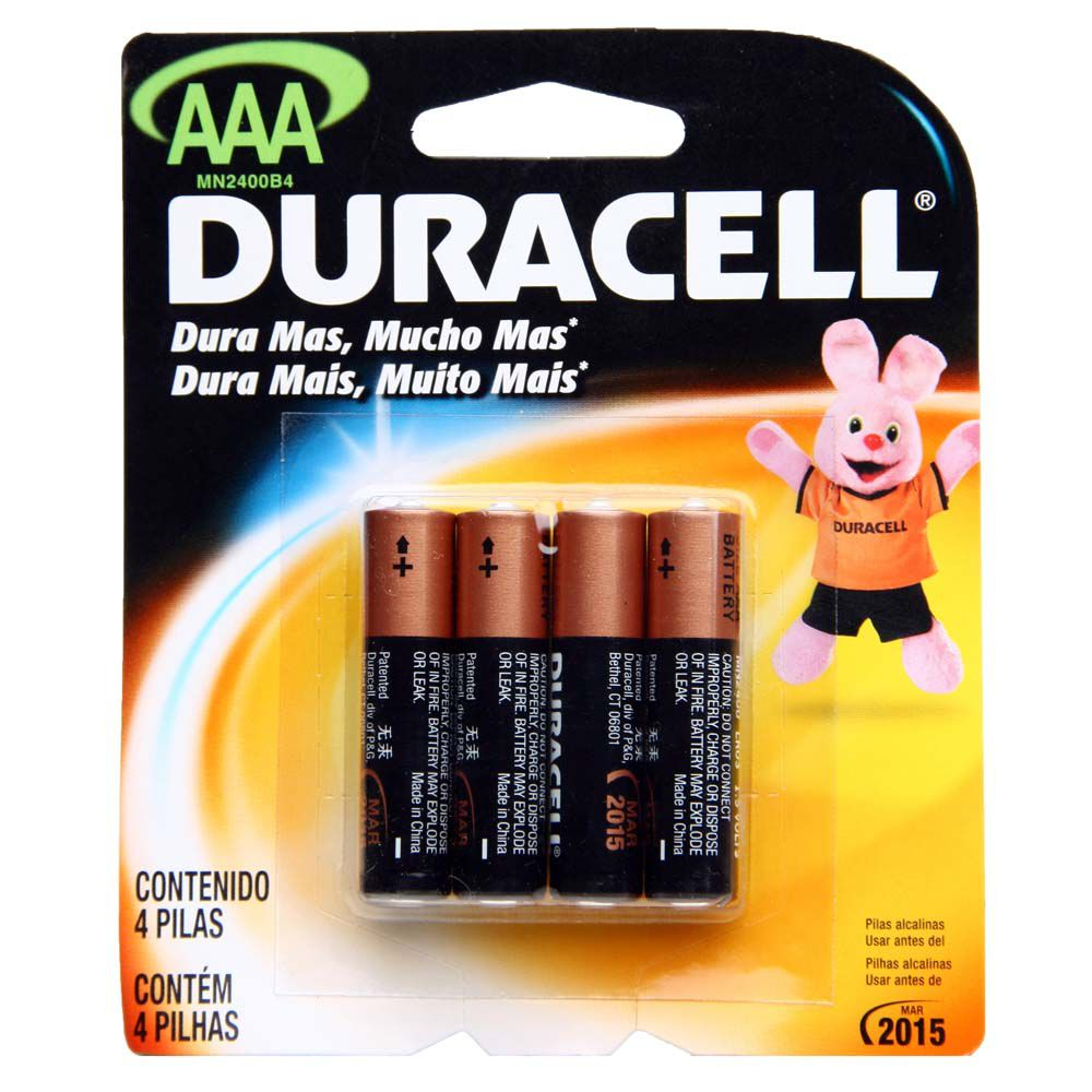 12 Pilhas Palito AAA Duracell Alcalina Cartela com 4 Atacado