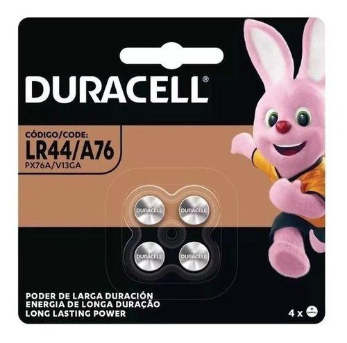 4 Bateria LR44 Duracell 1 Cartela C/ 4 Unidades