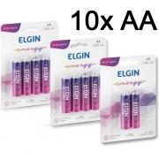 10 Pilhas AA Recarregavel Elgin 2500 Mah