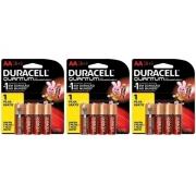 12 Pilhas AA Quantum Duracell Alcalina 3 Cartelas C/4 unidades