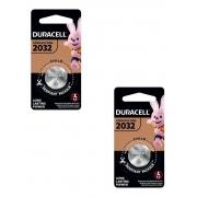 2 Pilhas Duracell Cr2032 3v Lítio Bateria Moeda