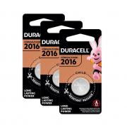 3 Pilhas Cr2016 Duracell 3v Bateria De Lítio Moeda Dl 2016