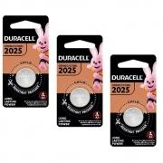 3 Pilhas Cr2025 Duracell 3v Lithium Bateria Moeda Cartela