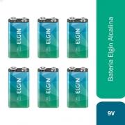 6 Bateria Alcalina 9v 6lr61 Elgin Jogos Violão Sensor Fumaça