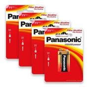 Kit 4 Bateria 9V Alcalina Panasonic Pilha Original