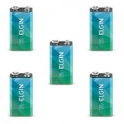 Kit 5 Bateria 9V Alcalina 6lr61 Elgin Pilha Original