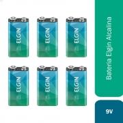 Kit 6 Baterias 9V Alcalina Elgin Pilha Blister Kiit Original