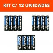 Kit Pilha Panasonic Aa 12 Un + Aaa 8 Un Comum Original