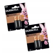 Pilha AA Duracell Alcalina 2 Cartelas C/2 Unidades Original