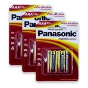 Pilha Alcalina Aaa Panasonic Palito 12 Unid Original Kit