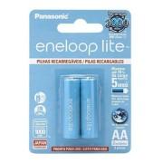 Pilha Eneloop Lite Aa Panasonic Recarregável 1000mah C/ 2 Un