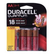 Pilha Quantum Duracell Aa Alcalina Leve 4 Pague 3 Kit