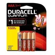 Pilha AAA Quantum Alcalina Duracell Leve 4 Pague 3 Pilhas Kit