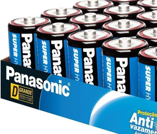 24 Pilha D Grande Panasonic Comum R20 Antivasamento Bandeja