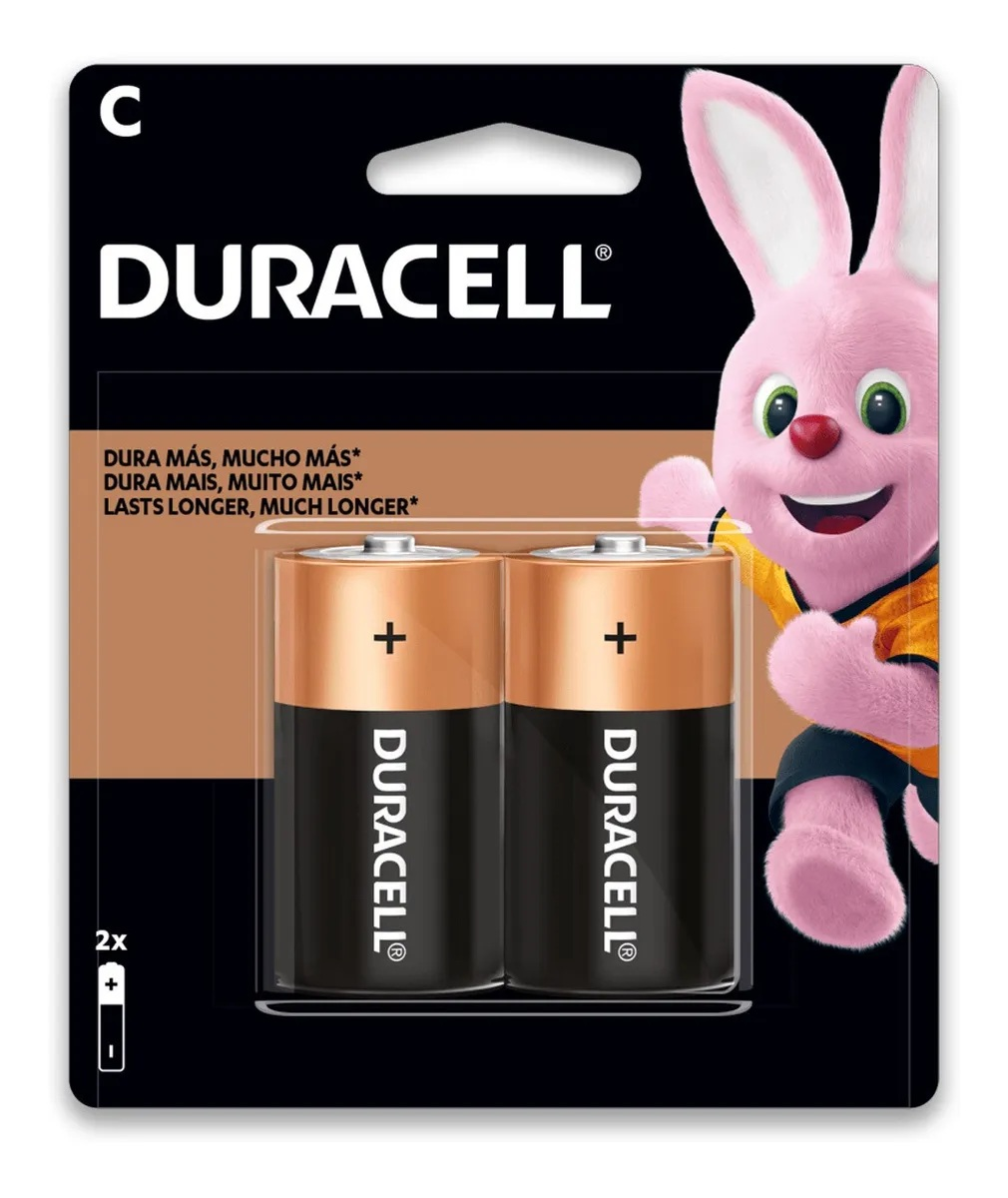 24 Pilhas Média Duracell C Alcalina 12 Cartelas C/2 Unidades