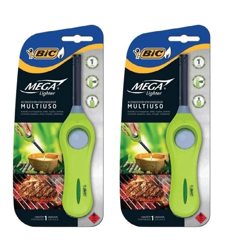 2 Acendedor De Fogão Multiuso Mega Lighter Bic Profissional Original