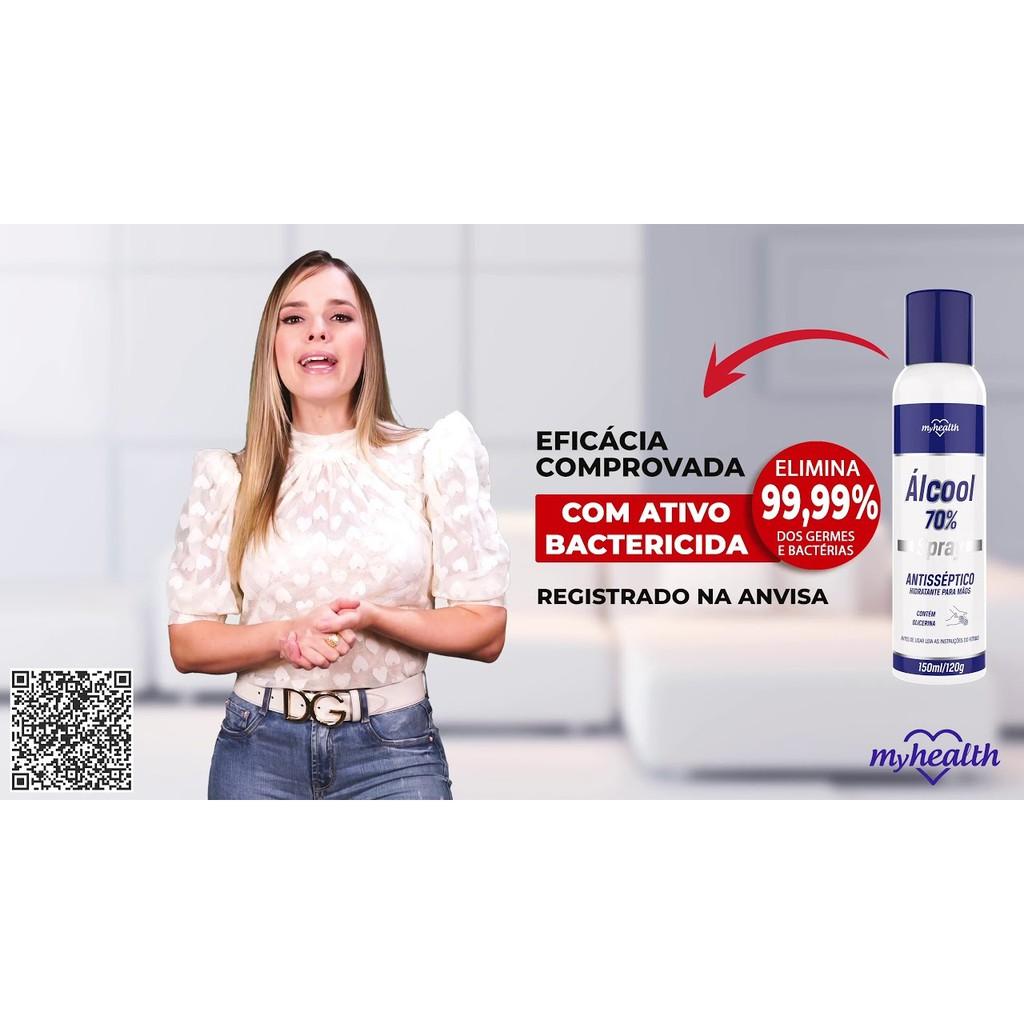 2 Alcool 70º Spray Antisséptico Myhealth 150ml Hidratante para Mãos