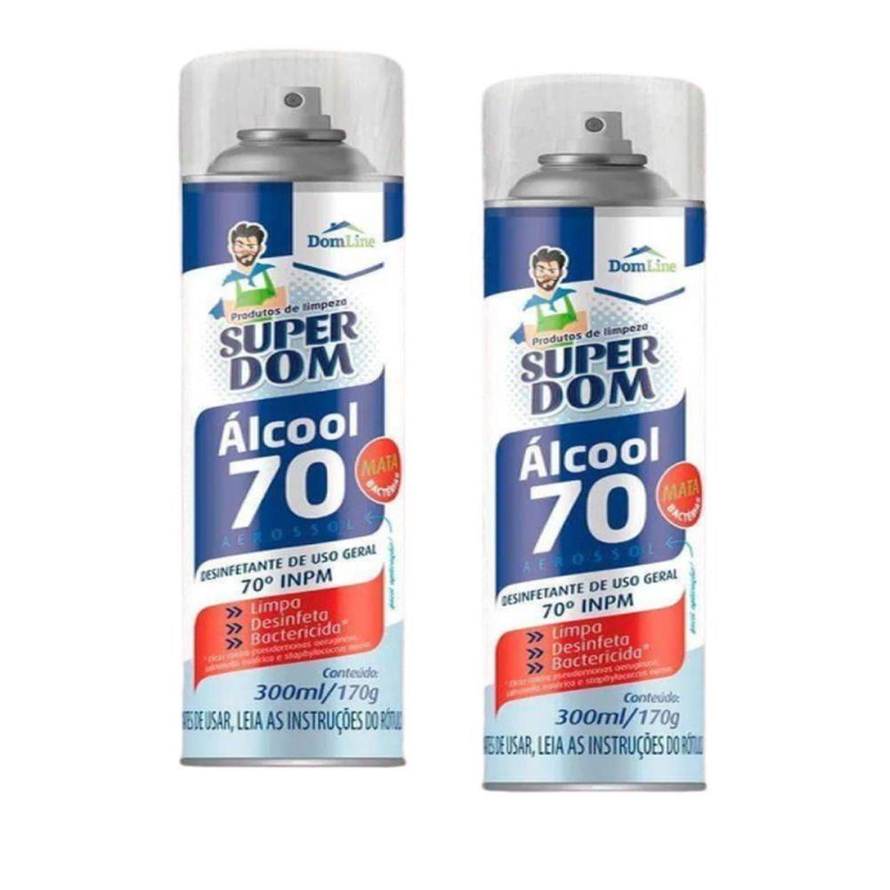 2 Álcool Aerossol 70 Super Dom 300ml Dom Line