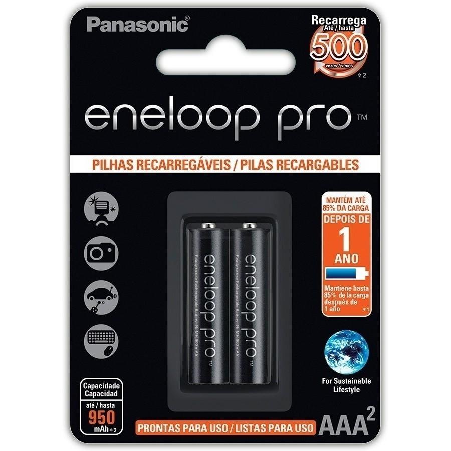 2 Pilhas Aaa Eneloop Pro Recarregavel Palito Panasonic
