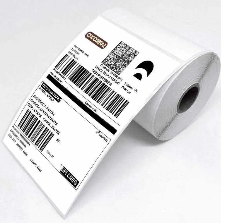 2 Rolo Etiqueta 10x15 Cada Rolo 330 Etiquetas Adesiva Serrilha Couche Usa Ribbon Zebra Argox Elgin Mercado Livre