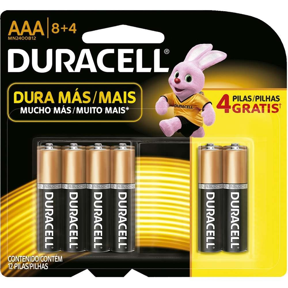 36 Pilhas Palito Aaa Duracell Alcalina Cartela 8 + 4 Grátis