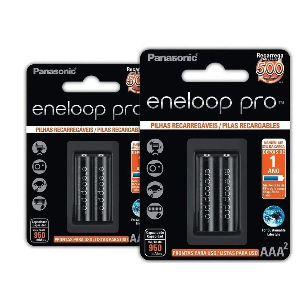 4 Pilhas Aaa Eneloop Pro Preta Palito Panasonic
