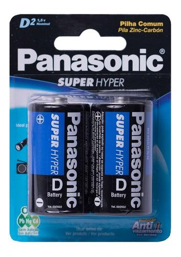 4 Pilhas Grande D LR15 Panasonic 2 Cartelas C/2 Unidades Rádio